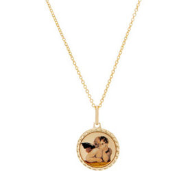 "Italian Gold Cherub Pendant on 18"" Chain, 14K Gold"