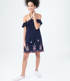 Floral Embroidered Halter Shift Dress