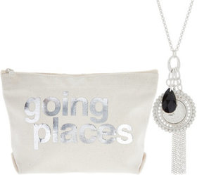 Dogeared Bon Voyage Cluster Necklace and Pouch - J