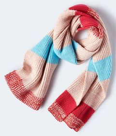 Striped Marled Knit Scarf***