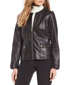 Cole Haan Quilted Detail Collarless Genuine Leathe