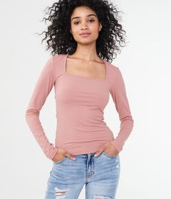 Long Sleeve Solid Square-Neck Bodycon Top