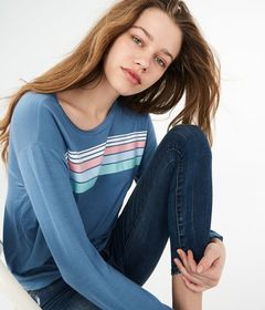 Long Sleeve Chest Stripe Graphic Tomboy Tee