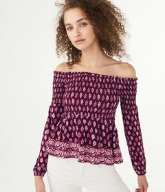 Long Sleeve Paisley Flower Smocked Off-The-Shoulde