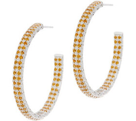 """""""As Is"""" DeLatori Sterl Silver Pave Gemstone Hoop E"""