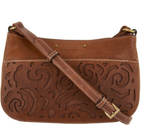 """""""As Is"""" Tignanello Leather Floral Crossbody- Flore"""