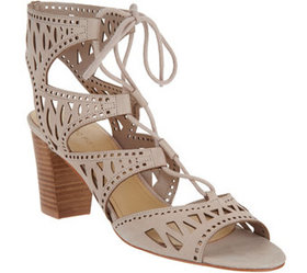 Marc Fisher Suede Perforated Lace-up Sandals - Pet