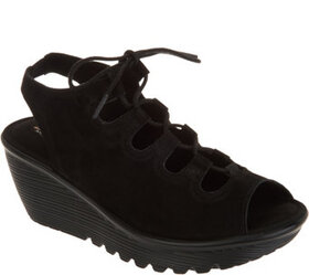 Skechers Suede Lace-Up Peep-Toe Wedges - A302844