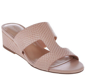 H by Halston Cut-out Leather Sandals with Mini Wed