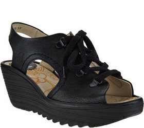 FLY London Leather Lace-Up Wedge Sandals - Ylfa -