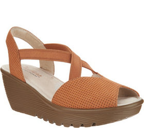 """As Is"" Skechers Peep- Toe Sling Back Wedges- Piaz"