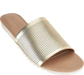 """As Is"" H by Halston Open- Toe Perforated Leather"