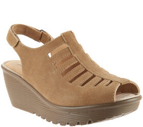 """As Is"" Skechers Suede Peep-toe Sling-back Wedges"