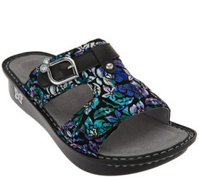 """""""As Is"""" Alegria Leather Adj. Slide Sandals - Peggy"""