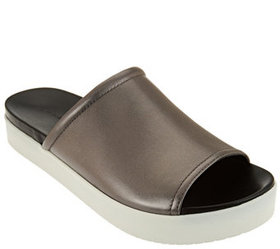 """""""As Is"""" H by Halston Leather Slide-On Platform Sho"""