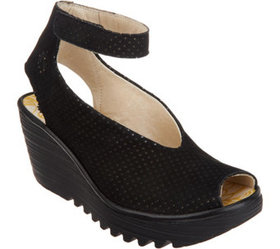 """""""As Is"""" FLY London Leather Wedge Sandals- Yala Per"""