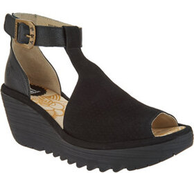 """""""As Is"""" FLY London Perforated Leather Strap Wedges"""