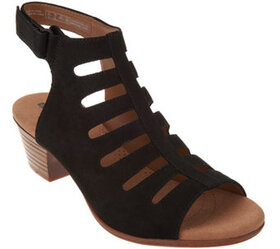 """""""As Is"""" Clarks Leather Peep Toe Cut-out Sandals- V"""