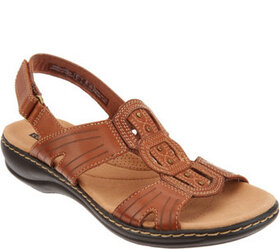 """""""As Is"""" Clarks Leather Light Adjustable Sandals- L"""