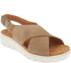 """""""As Is"""" Clarks UnStructured Leather Low Wedge Sand"""
