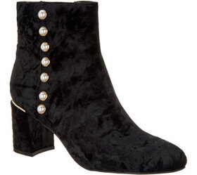 Isaac Mizrahi Live! Crushed Velvet Booties with Fa