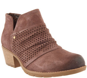 Earth Origins Suede Booties w/ Perforated Ruching