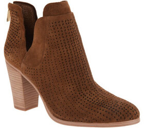 Vince Camuto Perforated Suede Stacked Heel Booties