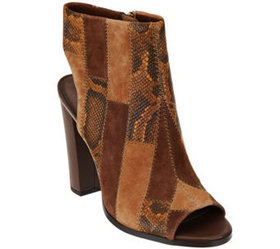C. Wonder Leather Open Toe Booties with Patchwork