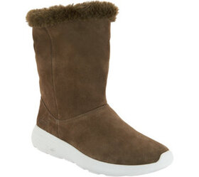 """""""As Is"""" Skechers GOwalk Suede and Faux Fur Boots-"""