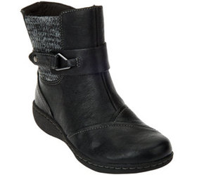 """""""As Is"""" Clarks Leather Ankle Boots w/Knit Panel -"""