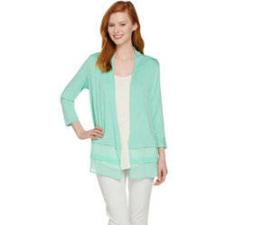 LOGO by Lori Goldstein Open Front Cardigan with Ch