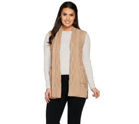 Lisa Rinna Collection Cabled Sweater Vest with Poc