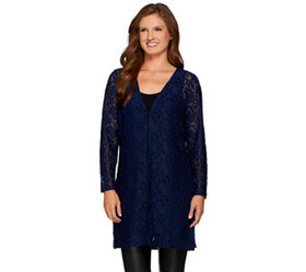 """As Is"" Susan Graver Stretch Lace Open Front Long"