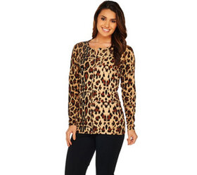 """As Is"" Quacker Factory Animal Print Cardigan w/ B"