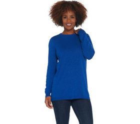 """""""As Is"""" Joan Rivers Crew Neck Sweater with Back Bu"""