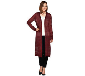 """As Is"" Dennis Basso Open Front Duster Cardigan Sw"