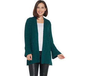 """""""As Is"""" H by Halston Tulip Sleeve Open Front Cardi"""