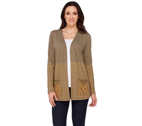 LOGO by Lori Goldstein Open Front Cardigan with Em