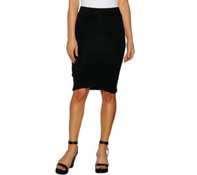 Lisa Rinna Collection Faux Wrap Knit Skirt with Ru