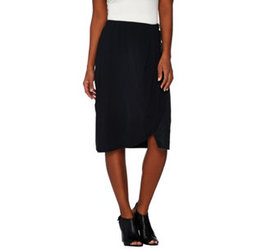 H by Halston Draped Skirt with Suede Panel - A2743