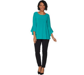 """""""As Is"""" Women with Control Petite Flounce Sleeve T"""