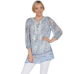 """As Is"" Susan Graver Printed Sheer Chiffon Tunic a"