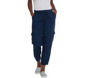 LOGO by Lori Goldstein Woven Pull-On Pant with Tri