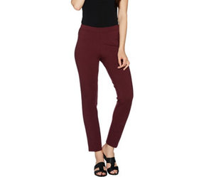 H by Halston Petite Pull-On Knit Ponte Ankle Pants