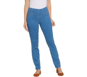 """As Is"" Denim & Co. Petite Soft Stretch Smooth Wai"