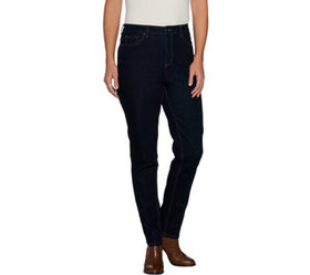 """As Is"" Denim & Co. Petite 5- Pocket Slim Straight"