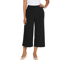 Dennis Basso Caviar Crepe Wide Leg Pull-On Cropped