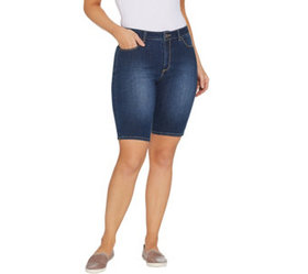 """As Is"" Susan Graver Hi Stretch Denim Bermuda Shor"