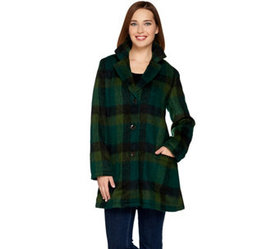 LOGO by Lori Goldstein Plaid Coat with Patch Pocke