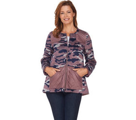 LOGO by Lori Goldstein Brushed Camo Zip Front Jack